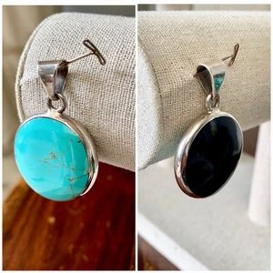 Jewelry - Dual sided Turquoise and Onyx Sterling Pendant